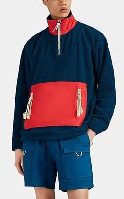 Acne Studios Men's Colorblocked Fleece & Ripstop Teddy Pullover - Md. Blue