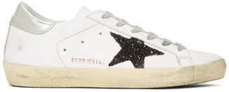 Golden Goose White and Black Glitter Superstar Sneakers