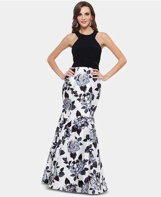 Xscape Evenings Illusion-Inset Floral-Print Gown