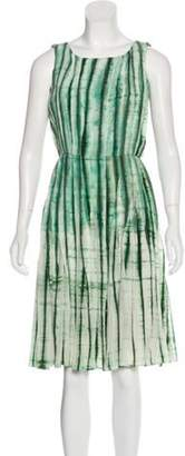 Oscar de la Renta Silk Pleated Dress Green Silk Pleated Dress
