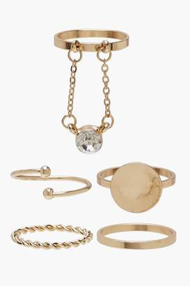 boohoo Simple Band & Diamante Ring Pack