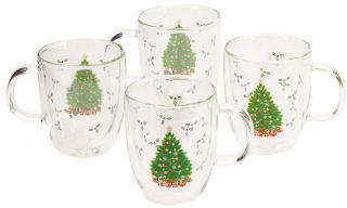 4pk Christmas Double Wall Coffee Mugs