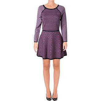 Juicy Couture Black Label Women's Super Colorful Long Sleeve Jacquard Sweater Dress Graphic Design