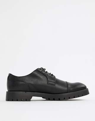Truffle Collection Lace Up Shoe with Zip Detail in Black