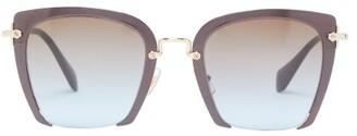 4d25d88551f7 Miu Miu Square Frame Acetate Sunglasses - Womens - Blue Multi