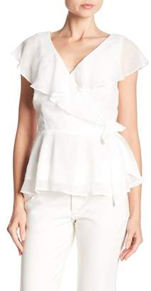 Collective Concepts Ruffle Sleeve Wrap Blouse