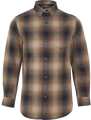 River Island Boys brown ombre check shirt