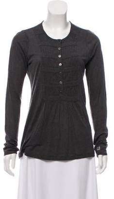 Burberry Wool-Blend Ruched Top Grey Wool-Blend Ruched Top