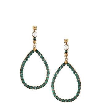 Fragments for Neiman Marcus Crystal Teardrop Earrings, Green