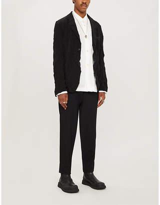 Yohji Yamamoto Crinkled relaxed-fit twill blazer