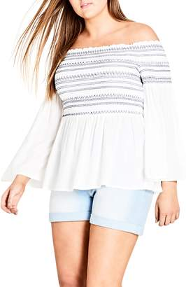 City Chic Smocked Off the Shoulder Top