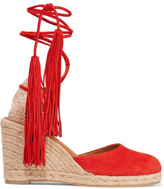 Castañer - Carina Tasseled Suede Wedge Espadrilles - Red $240 thestylecure.com