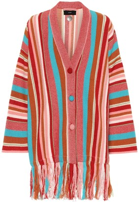 Alanui Striped cotton and cashmere cardigan