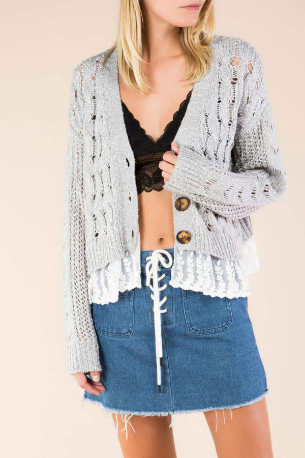 Open Weave Lace Seam Cardi