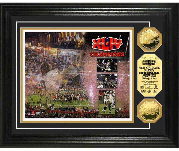 Officially Licensed NFL Limited Edition Super Bowl XLIV Champions Celebration Goldtone Coin Photo Mint - New Orleans Saints