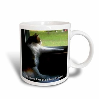 3dRose Calico Kitty Pass Me a Beer, Ceramic Mug, 15-ounce