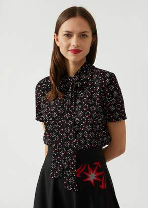 Emporio Armani Blouse With Crepe Bow With Loading Pattern