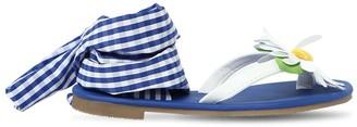 MonnaLisa Faux Leather Gingham Sandals