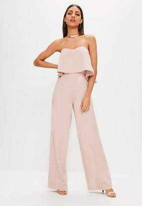 Missguided Nude Double Layer Bandeau Wide Leg Romper