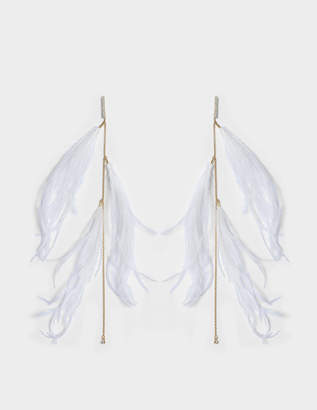 Helene Zubeldia Exclusivity - Ostrich Feather On Crystal Mono Earring in Gold-Plated Brass