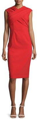 David Meister Cap-Sleeve Crisscross Sheath Dress $380 thestylecure.com