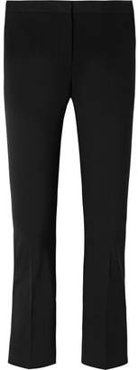 Theory Cropped Stretch Cotton-blend Ponte Flared Pants - Black