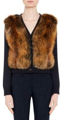 Prada Fox Fur& Virgin Wool Cropped Cardigan