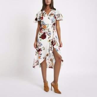 River Island Womens Cream floral frill wrap tie waist midi dress