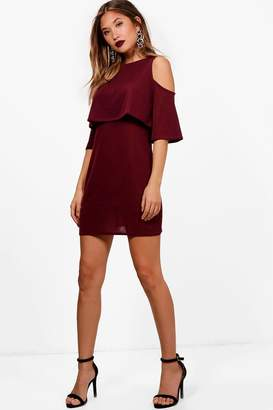 boohoo Cold Shoulder Double Layer Knit Dress
