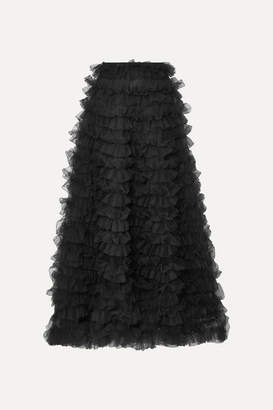 Valentino Tiered Ruffled Chiffon Maxi Skirt - Black