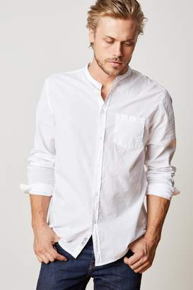 Velvet by Graham & Spencer HEATH COLLARLESS WOVEN COTTON SHIRT