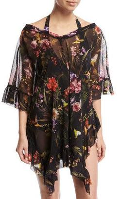 Fuzzi Floral Print Short-Sleeve Swim Coverup, Black $395 thestylecure.com