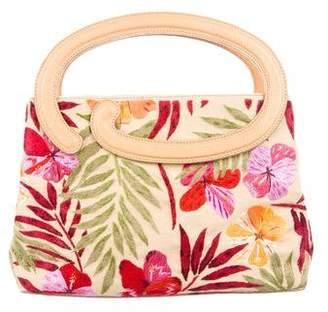 Oscar de la Renta Leather-Trimmed Floral-Embellished Bag