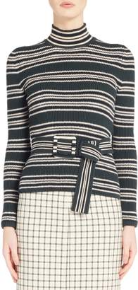 Fendi Belted Stripe Turtleneck Sweater