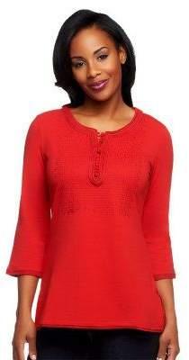 Isaac Mizrahi Live! 3/4 Sleeve Embroidered Knit Tunic