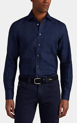 Luciano Barbera Men's Geometric Woven Linen Sport Shirt - Blue Pat.