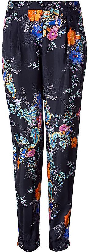 TARA JARMON Black/ Multi Color Flower Silk Pants