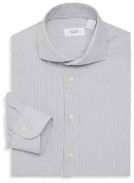Trim-Fit Fancy Dotted Line Dress Shirt