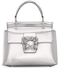 Roger Vivier Women's Viv Flower Strass Metallic Leather Top Handle Bag