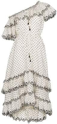 Zimmermann White jaya scallop tiered linen dress