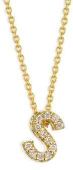 Roberto Coin Tiny Treasures Diamond& 18K Yellow Gold Letter S Necklace