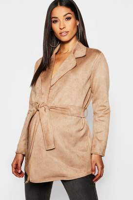 boohoo Maternity Suedette Double Breasted Belted Jacket