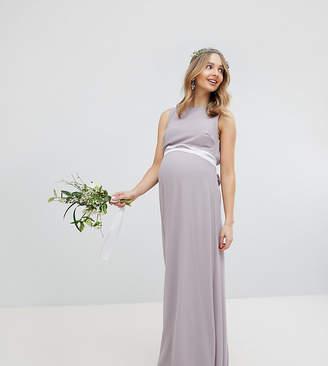 TFNC Maternity Maternity Sateen Bow Back Maxi Bridesmaid Dress