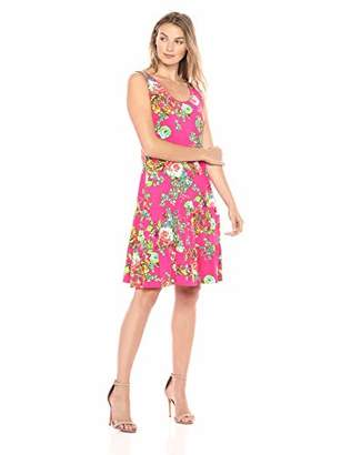 MSK Women's Flounce Hem Tiered Dress with Floral Print