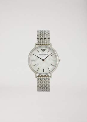Emporio Armani Stainless Steel Watch With Mosaic Pattern 11112