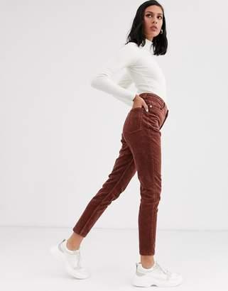 Monki cord skinny pants in rust