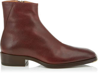 Jimmy Choo LUCAS Bordeaux Pebbled Vacchetta Leather Ankle Boots
