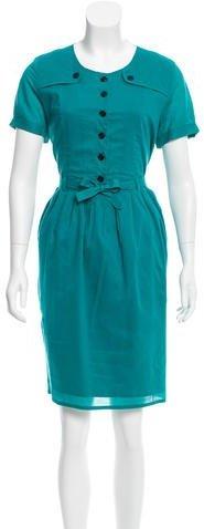 Burberry Burberry Belted Short Sleeve Dress