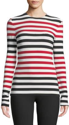 Norma Kamali Spliced Striped Long-Sleeve Top