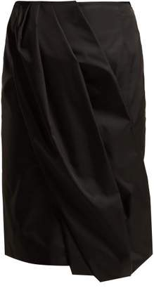 Prada Wrap Effect Nylon Skirt - Womens - Black
